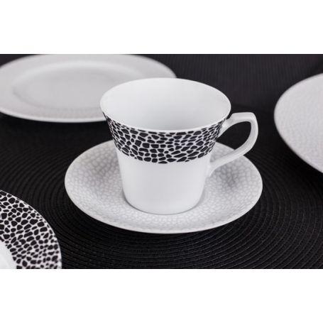 Venus Black & White - middag- og kaffeservise til 6 personer, 30 deler