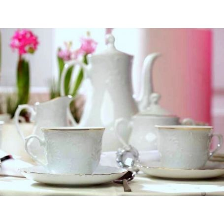 Rococo Gul - kaffeservise til 12 personer, 39 deler