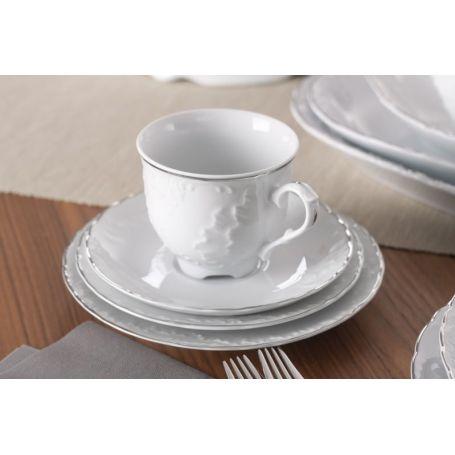 Rococo Platina - middag- og kaffeservise til 12 personer, 84 deler