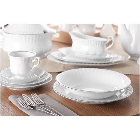 Iwona Platina - middag- og kaffeservise til 12 personer, 84 deler