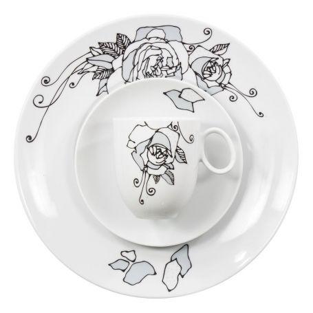 Quebec Geometriske Roser - middag- og kaffeservise til 12 personer, 60 deler