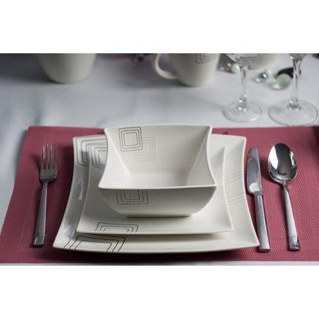 Firekanter - middagsservise til 6 personer, 18 deler