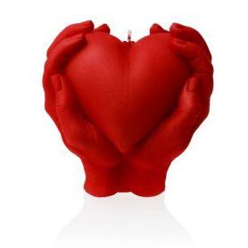 Hjerte i hender rød - 16 cm
