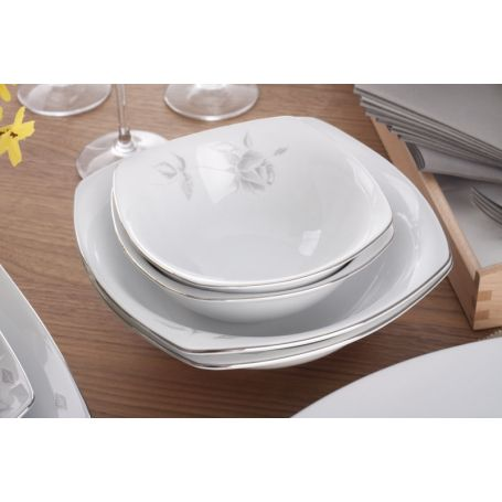 Akcent Grå Rose - middagsservise til 12 personer, 42 deler