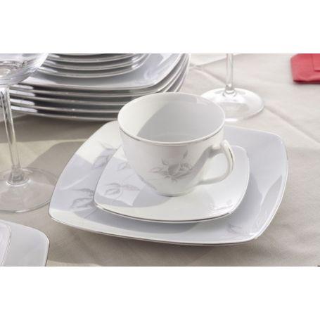 Akcent Grå Rose - middag- og kaffeservise til 6 personer, 30 deler